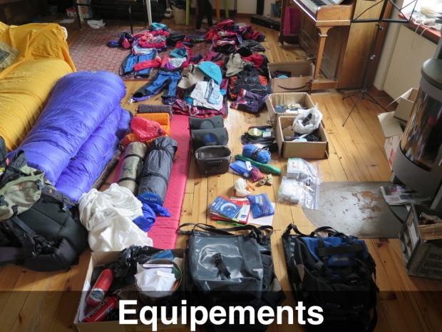 Nos équipements (vêtement, tentes, sac de couchage, etc.)